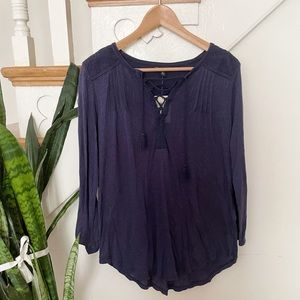 Lucky Brand Navy blue textured lace up blouse sz M
